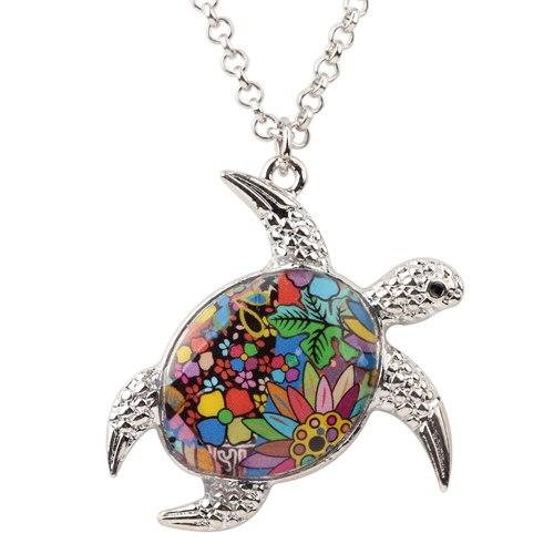 Enamel Sea Turtle Pendant Necklace