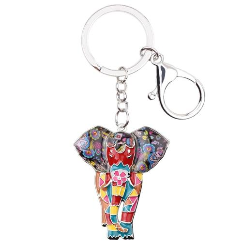 Enamel Elephant Shaped Keychain