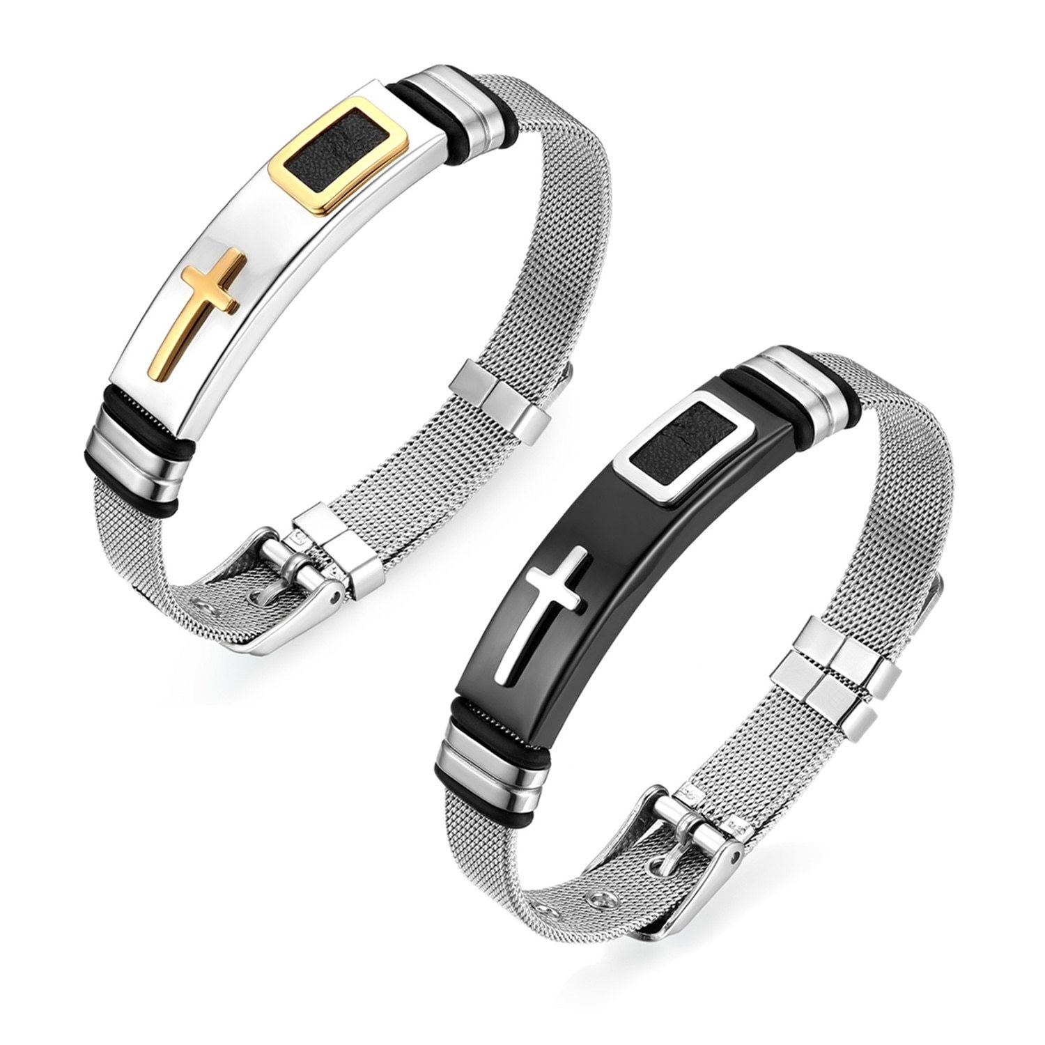 Classic Cross Stainless Steel Adjustable Bracelet - S&G Collections