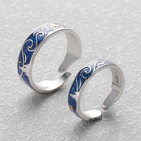 Enamel Van Gogh's Glitter Sky in S925 Silver Adjustable Rings - S&G Collections