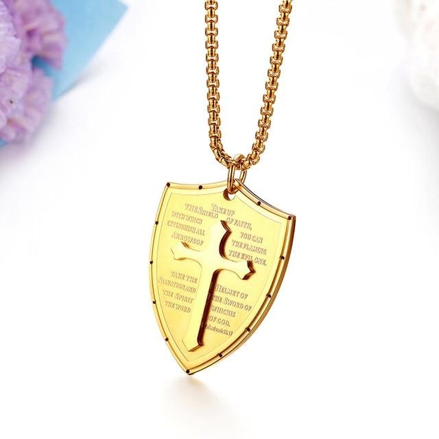 Faith Cross Stainless Steel Pendant Gold Chain Necklaces - S&G Collections