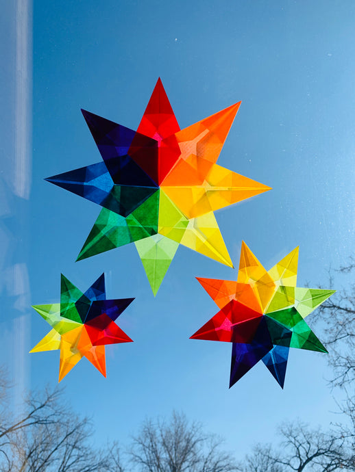 Rainbow Window Star Tutorial and DIY Kit (set of 3 stars)
