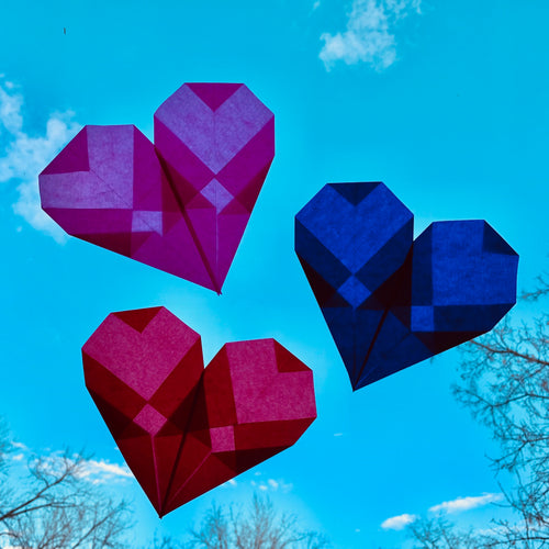 Stained Glass Window Heart Tutorial and DIY Kit (set of 3 hearts)