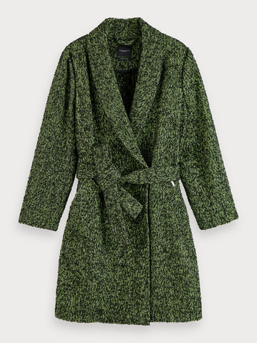 Textured wool-blend wrap coat in Combo Z