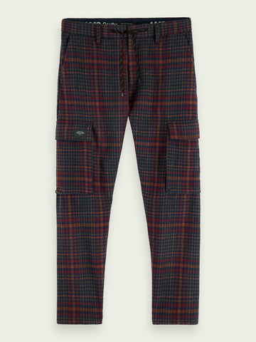 Wool-blend check ankle length cargo pants in Combo A