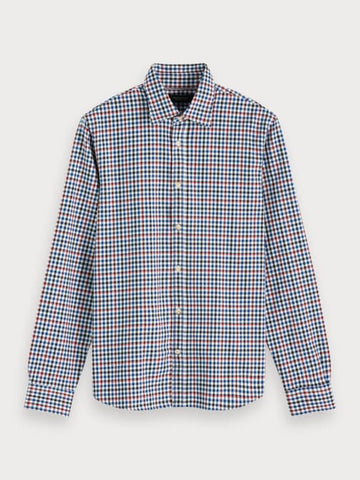 Checked Cotton Blend Shirt | Regular fit in Blue