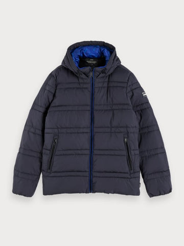 Quilted Puffer Jacket in Blue