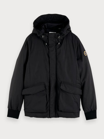 Short Hooded Jacket in Black