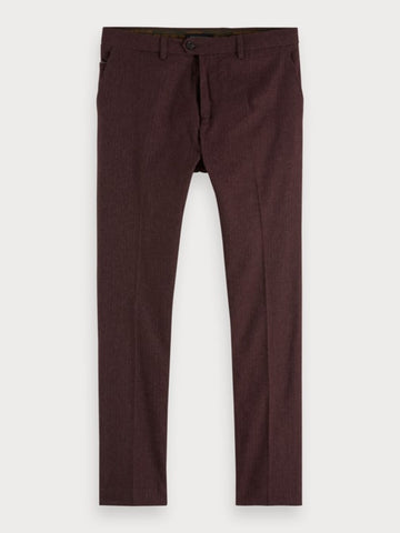 Stuart - Yarn Dyed Trousers | Regular slim fit in Bordeaux