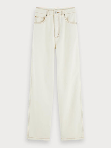 Cotton high-rise straight fit pants in Off White