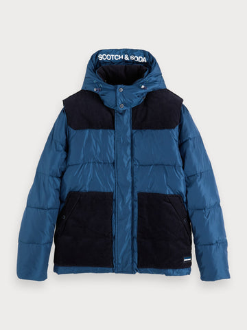 Mixed Puffer Jacket in Blue
