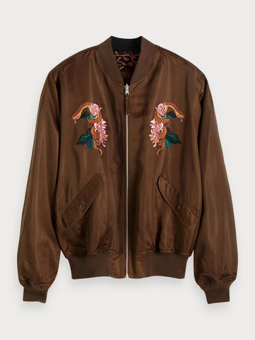 Reversible Bomber Jacket in Brown