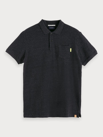Basic Chest Pocket Polo in Black