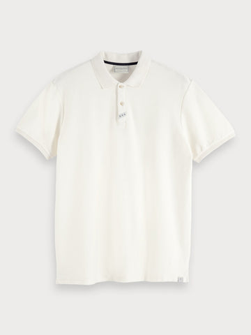 Cotton Twill Polo in White