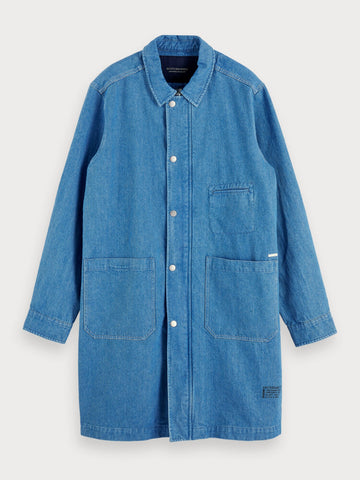 Denim Trench Coat in Blue