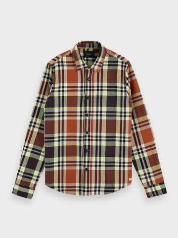 Checked Flannel Shirt | Regular fit in Green