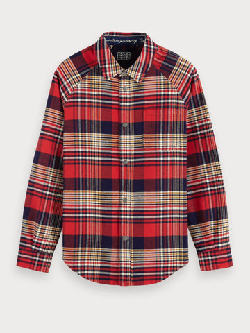 Mixed Print Flannel Overshirt | Regular fit in Blue