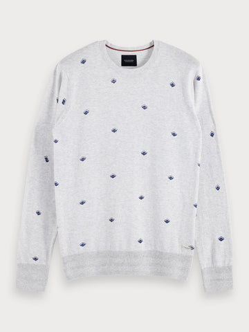 All-Over Printed Sweater in Grey
