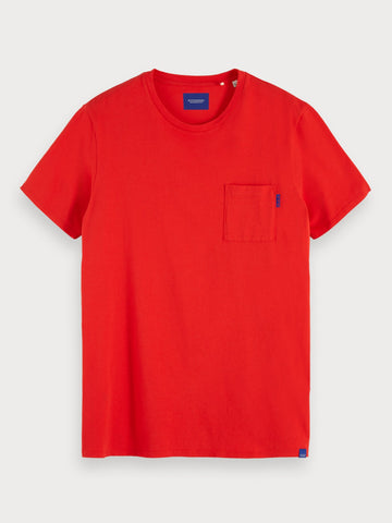 Basic Chest Pocket T-Shirt in Red