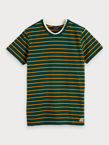 Striped Crew Neck T-Shirt in Green