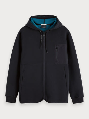 Technical Zip-Through Hoodie in Black