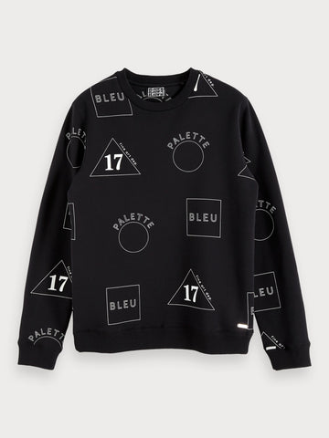 All-Over Printed Sweatshirt in Black