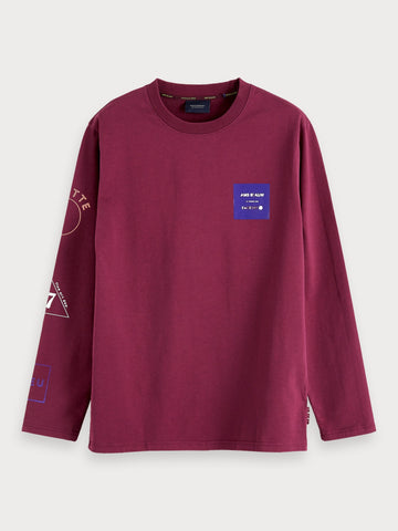 Long Sleeved Artwork T-Shirt in Blue