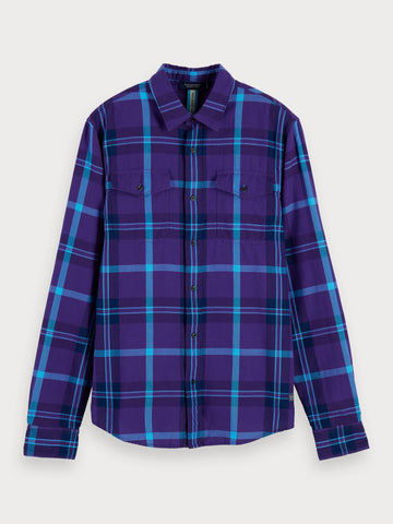 Herringbone Plaid Shirt | Regular fit in Blue