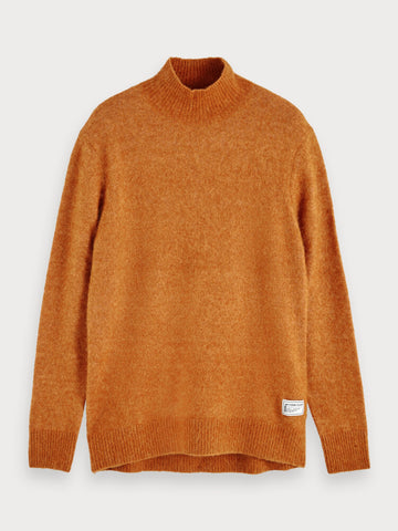 Fluffy Knit Turtleneck in Brown