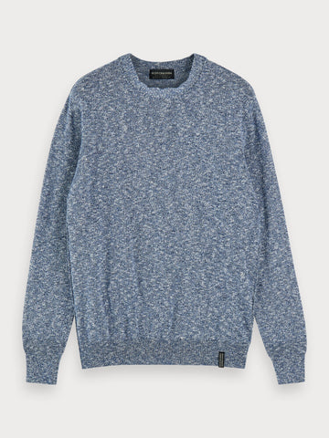 Slub Crew Neck Sweater in Blue