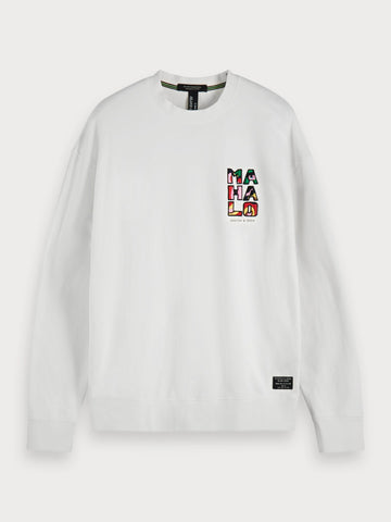 Embroidered Detail Sweatshirt in White