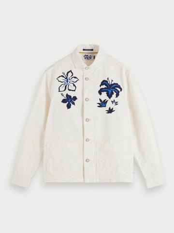 Embroidered Worker Jacket in White