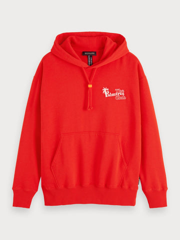 Embroidered Artwork Hoodie in Red