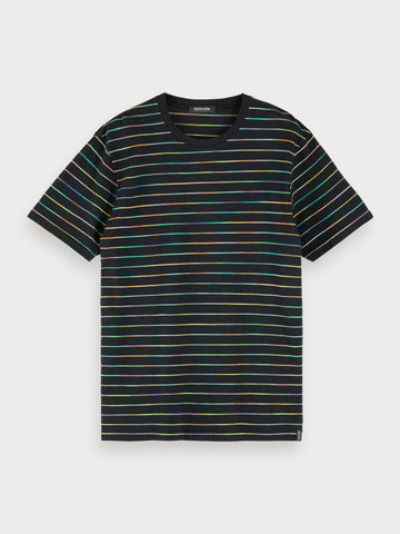 Space Dye Stripe T-Shirt in Black