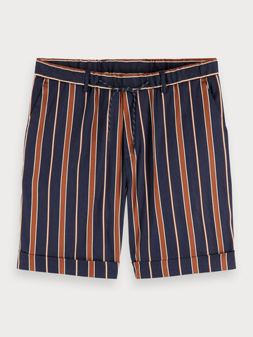 Yarn Dyed Striped Shorts in Blue