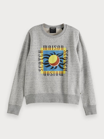 Regular fit cotton-blend sweatshirt in Grey Melange