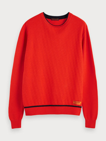 Structured Crew Neck Sweater in Red