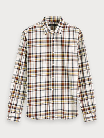 Checked Cotton Blend Shirt | Regular fit in Brown