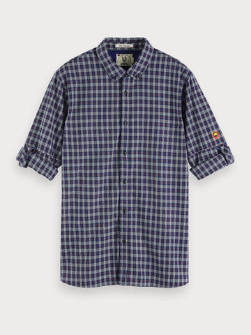 Patterned Cotton Shirt | Regular fit in Blue