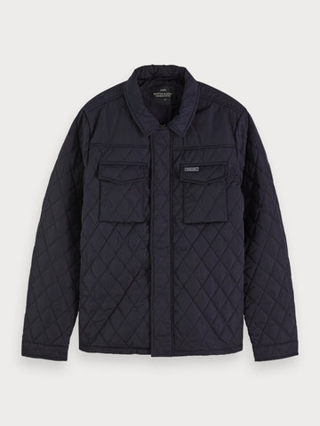 Quilted Shirt Jacket in Blue