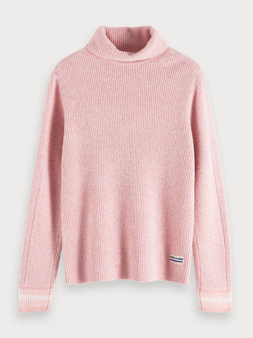 Rib Knitted Turtleneck in Pink
