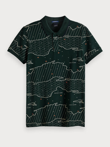 All-Over Printed Polo in Black