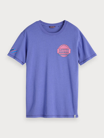 Garment Dyed Artwork T-Shirt in Purple
