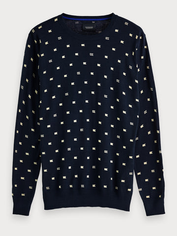 All-Over Printed Sweater in Blue