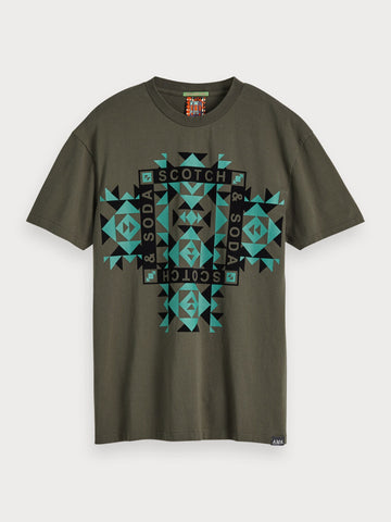 Geometric Print T-Shirt in Blue