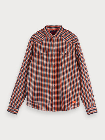 Checked Cotton Shirt | Regular fit in Blue