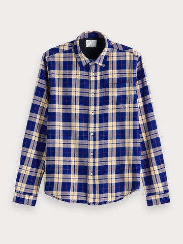Brushed Flannel Shirt | Regular fit in Blue