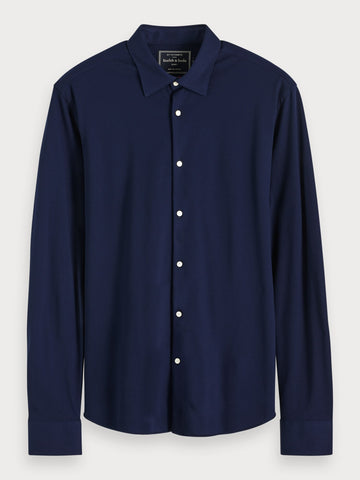 Knitted Shirt | Slim fit in Blue