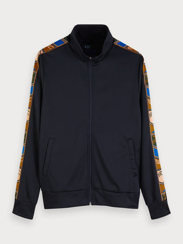 Tape Detail Track Jacket in Black
