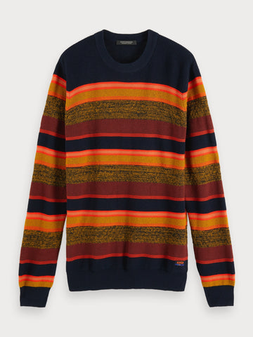 Striped Crew Neck Sweater in Black